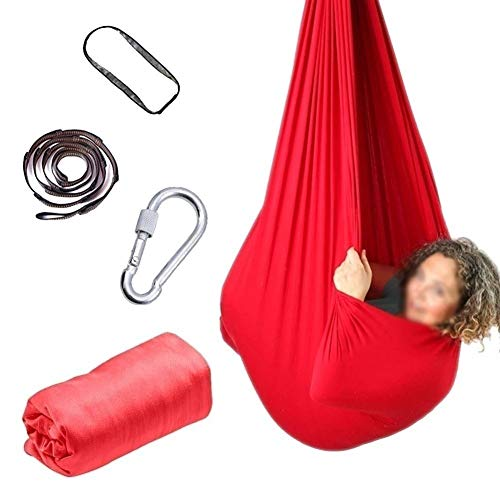 Indoor Therapy Swing for Kids with Special Needs Yoga Hammock Hanging Belts Training Anti-Gravity Pilates Snuggle Cuddle Children Autism ADHD Aspergers (Color : Rose red, Size : 100x280cm/39x110in)