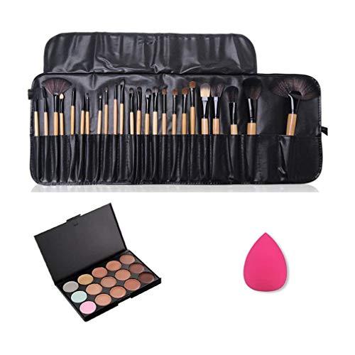 JasCherry 24 Pcs brochas de maquillaje + 1 Esponja Fundació