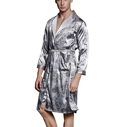 ZZUU Heren Kimono Robes Jurk Satijn Badjas Nachtkleding Met 2 Zakken, Riem - Zachte, Comfortabele Bad Robes Housecoat Nachtkleding Pyjama