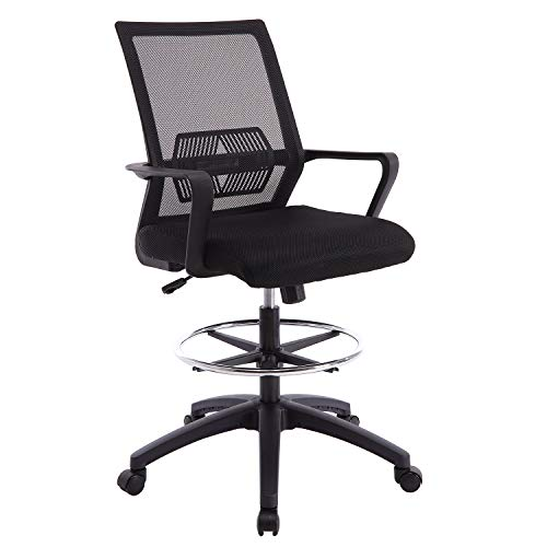 Ergonomic Mesh Office Drafting Chair - Adjustable Height with arms, Tall Office Computer Reception Desk Chair (Black)