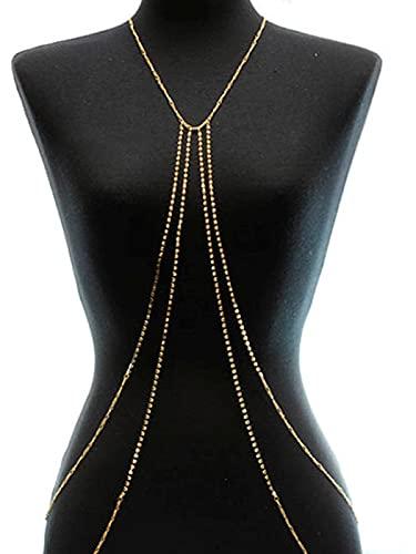 Sethain Cristallo catena del ventre Oro Strass a strati Catena in vita Scintillante Catene bikini Gioielli per il corpo Accessori per donne