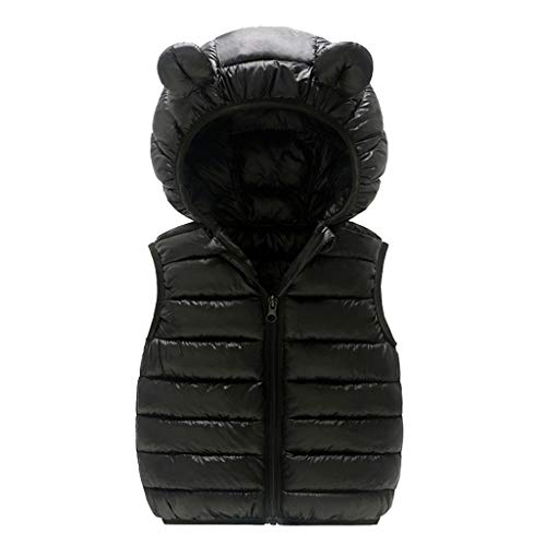 Mousmile Toddler Baby Boys Girls Puffer Vest Winter Warm Cotton Padded Down Jacket Cute Bear Ears Hooded Coat Outwear (Black, 6-12 Months)