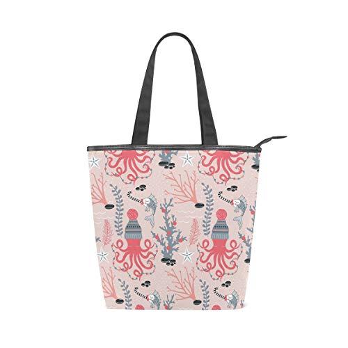 Bolso de lona para mujer, diseño de pulpo de dibujos animados, diseño de peces de coral, ideal para gimnasio, playa, viajes diarios (11 × 4 × 13.6 pulgadas)