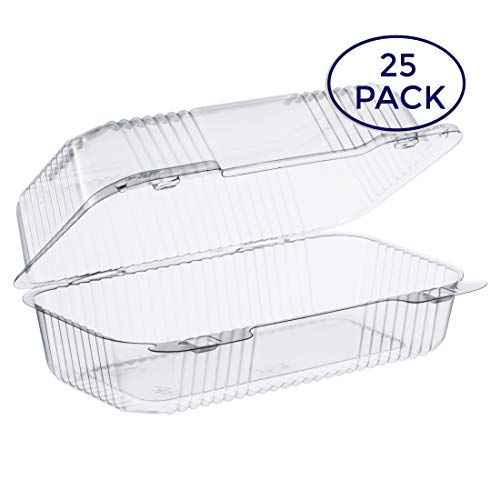 """Dart Clear Hinged Lid Plastic Container 9""""x 5 3/8"""