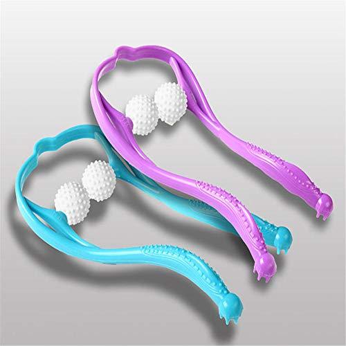 Masaje de tejido profundo para aliviar el dolor muscular Masajeador de cuello Masajeador de cuello y hombro Punto de presión Manual Shiatsu Punto de disparo manual -púrpura