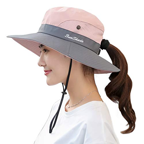 Muryobao Women's Sun Hat Outdoor UV Protection Foldable Mesh Bucket Hat Wide Brim Summer Beach Fishing Cap Pink