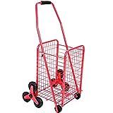 Carro de la compra portátil Carro de la compra fácil almacenamiento marco de metal plegable carro de ruedas plegable escalador carro carros carros, Red,