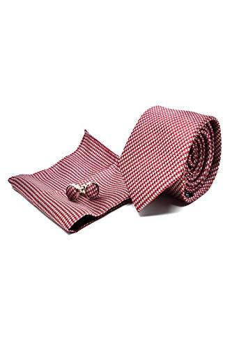 Corbata de hombre, Pañuelo de Bolsillo y Gemelos Rojo a Pata de Gallo - 100% Seda - Clásico, Elegante y Moderno - (Caja y Conjunto de Regalo, ideal para una boda, con un traje, en la oficina...)