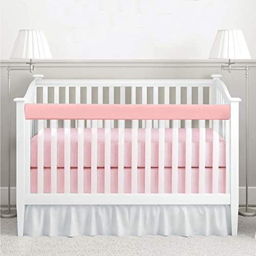 habibee Baby Crib Rail Cover 1-Pack Cotton Padded Reversible Protector Safe Teething Guard Wrap for Long Front Crib Rails, Pink