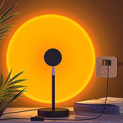MINGRT Sunset Projection Lamp, Lámpara De Proyección Sunset Rotación De 360°con USB Recargables Sunset Lamp Para Hogar Fiesta Decoración De Dormitorio Selfie Live