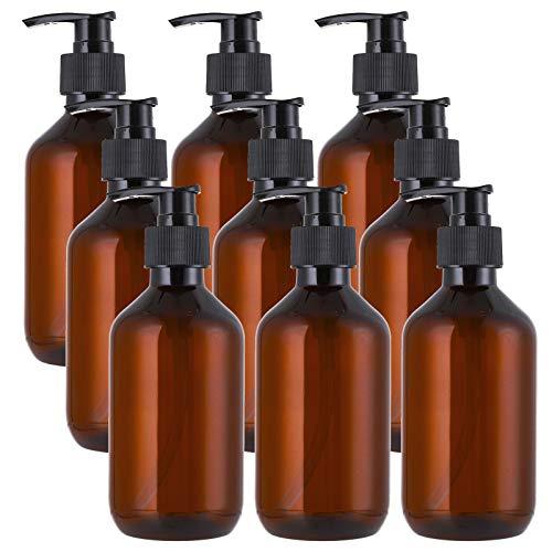 Jucoan 9 Pack Empty Plastic Pump Bottles, 10oz Amber Refillable Lotion Soap Shampoo Dispenser Bottles for Kitchen Sink Bathroom