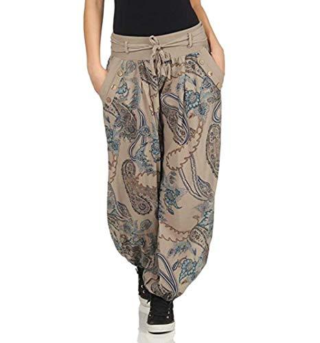 Shujin Pantalones bombachos para mujer, estilo harén, para verano, boho, largos, holgados, de tela, ligeros, para globos, para yoga, con cinturón café XL