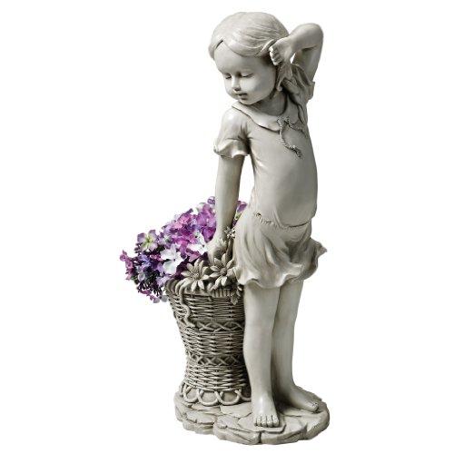 Design Toscano EU9294 Frances the Flower Girl Outdoor Garden Statue with Planter, Polyresin, Antique Stone, 54.5 cm, Grey
