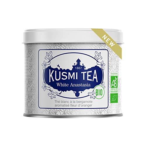 Kusmi Tee - Tee White Anastasia Bio - Weißer Tee mit Bergamotte, Orangenblüten und Zitronengeschmack - 90 g Metalldose