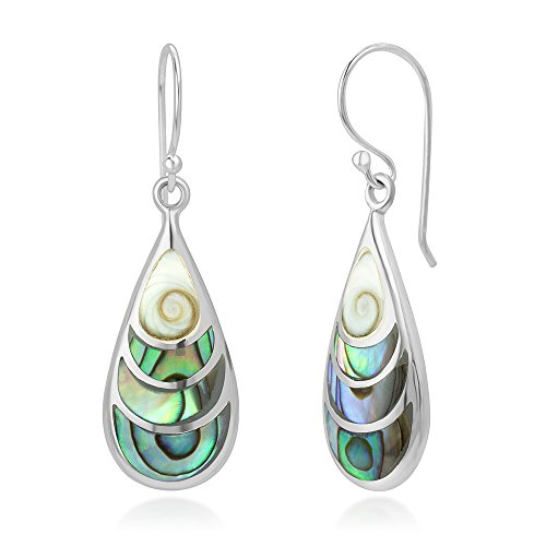 SUVANI 925 Sterling Silver Shiva Eye and Green Abalone Shell Inlay Teardrop Dangle Hook Earrings 1.4