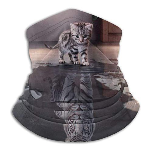 Bklzzjc Cat Cute Funny Kitten Manipulation Weißer Tiger Kopfbedeckung Halsmanschette Wärmer Winter Skiröhrchen Schal Schal Fleece Gesichtsschutz Winddicht