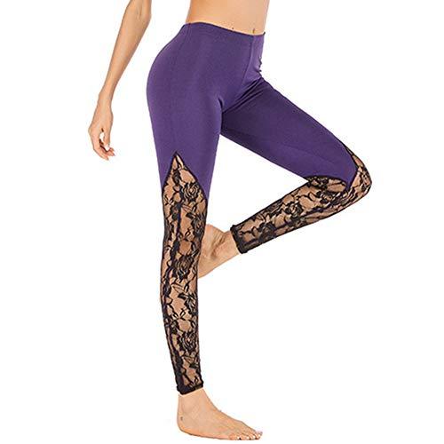 Pantalones de yoga de secado rápido XL para mujer, pantalones de yoga, pantalones de yoga sexy para mujer, Primavera-Verano, ajustado, Mujer, color Morado (, tamaño S