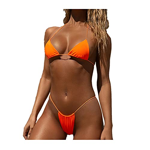Costume da bagno da donna a vita alta, bikini push-up Arancione S
