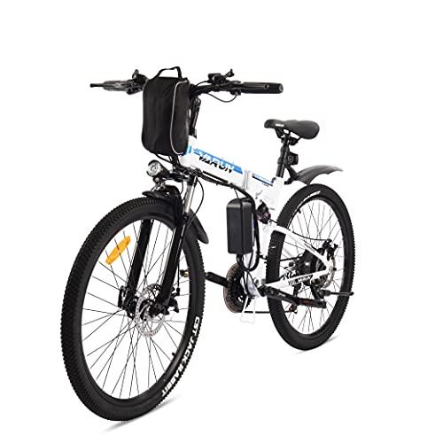 VARUN Faltbares E-Bike 26 Zoll ElektrofahrradMountainbike Klappbar Pedelec für Damen und Herren mit 250W Motor 36V 8 Ah Lithium-Ionen-Batterie Shimano 21-Gänge (Weiß)