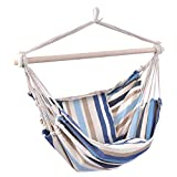 Giantex Hammock Swing, Hanging Rope Hammock Chair with 2 Cushions for Patio Porch Yard Tree C Hammock Stand, Cotton Hanging Air Swing (1, Beige and Blue Multicolor Stripes)