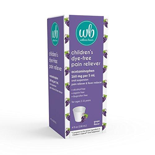 Wellness Basics Children's Pain & Fever Relief Acetaminophen Dye-Free Liquid, Grape, 4 Fluid Ounce