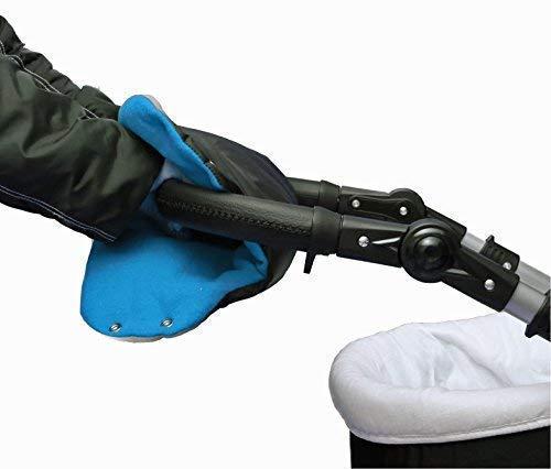 joie de bébé Manchon Chauffant pour mains NOIR-BLEU Protection main Gant de poussette Faites glisser le gant - MU-04