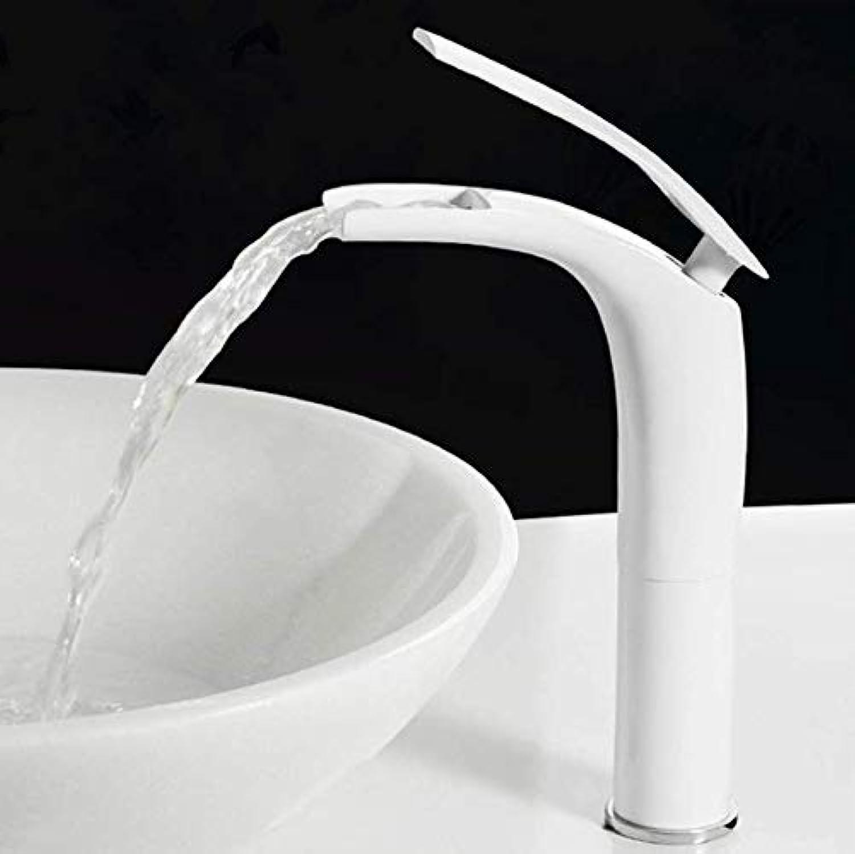 Messingbad Becken Wasserhahn Wei Backen Massivem Messing Einzigartiges Design Waschbecken Mischbatterie Warmen Und Kalten Wasserfall Becken Wasserhahn Kostenloser Versand