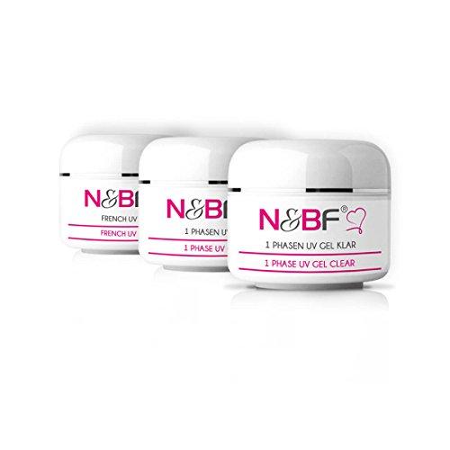 N&BF UV Gel All-in-One Sparset 3x15ml | 1 Phasen Gel Pink | 1-Phasen-Gel Klar | French UV Gel | Made in EU | Probeset für Gelnägel | 3-in-1 Nagelgel Vorteilsset säurefrei | Sparpaket Basisgel
