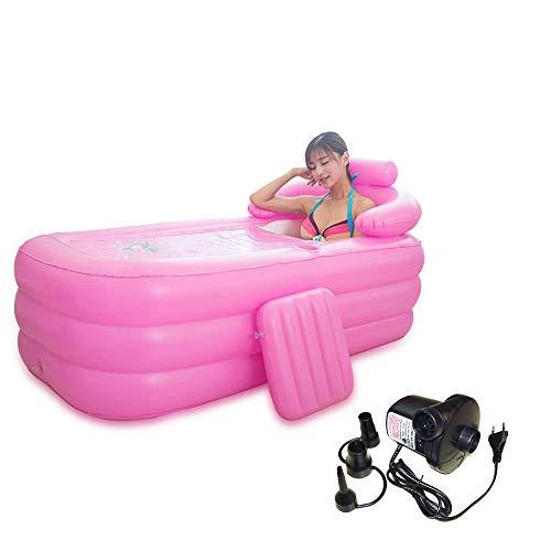 PVC faltbare tragbare Badewanne für Erwachsene Aufblasbare tragbare Badewanne Mini Air Swimming Pool Blow Up Freistehende SPA Badewanne Adult Whirlpool mit Badekissen Inflator Pump