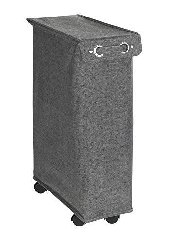 WENKO Wäschesammler Corno mit Deckel Prime Grau Meliert ,stabiler Wäschekorb mit Verstärkungs-Stangen und vier leichtgängigen Rollen, 43 l Stauraum in einem Fach, (B x H x T): 18.5 x 60 x 40 cm