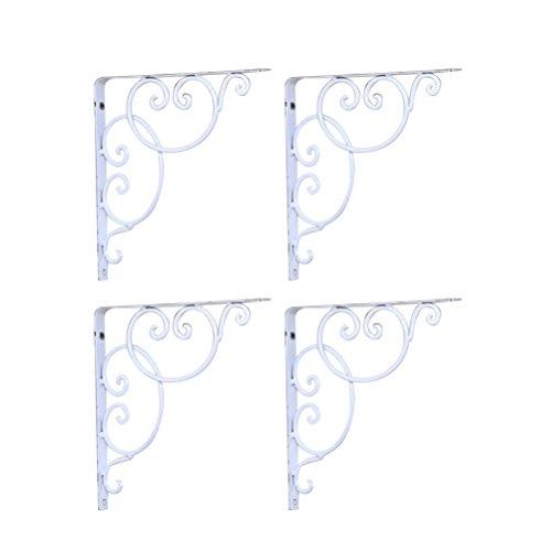 WINOMO Wandregel 4pcs Regalwinkel für Buch/Zimmerpflanzen/Set Spitzenkasten (weiß)