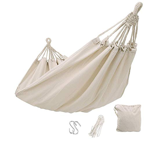 DSTong Single/Double Outdoor Garden Camping Hammock,1/2 Person Hammock Cotton Soft Swing Sleeping Portable with Carrying Bag for Patio Yard Garden Backyard Porch Travel (white/260 * 150cm)