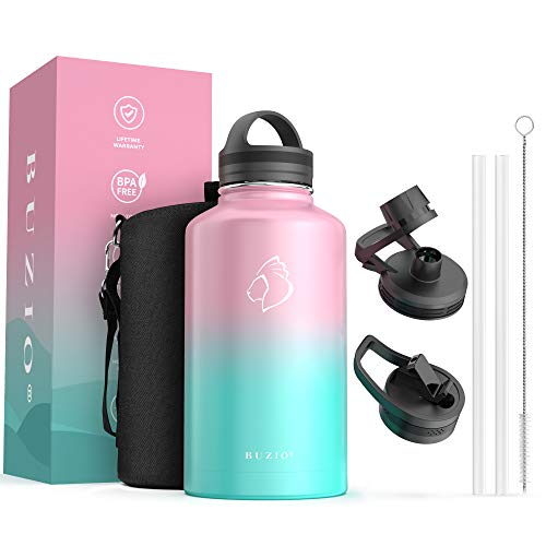 water bottles for kids bpas Stainless Steel Insulated Water Bottle Flask Jug, BUZIO 64 oz Water Bottle with Straw Lids, Half Gallon Canteen Metal Thermo Mug Hydro Jug, Double Vacuum Hot Cold Water Bottles,Bubble Gum