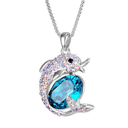 ZIOZIA Dolphin Gifts Cute Dolphin Necklace Made with Blue Swarovski Crystal Pendant Dolphin Tale Toy for Girls