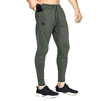 BROKIG Mens Lightweight Gym Jogger Pants,Men s Workout Sweatpants with Zip Pocket Army Green,Medium
