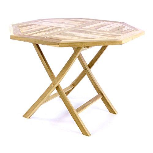 Divero Balkontisch Gartentisch Tisch Esstisch Holz Teak klappbar Ø 90 cm massiv Natur
