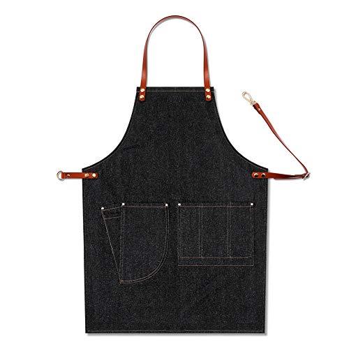 Latzschürze Barkeeper Multi Pocket Arbeits Uniform BBQ-Chef Gelegenheits Removable Denim Baker Lederband Adjustable Barista (Color : B)