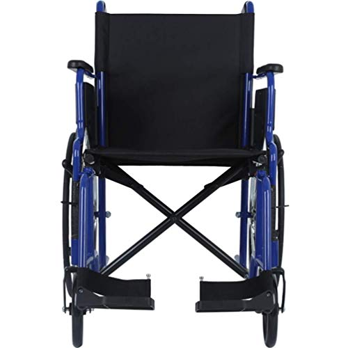 Wheelchair Self Chair Transport Elderly Travel Chair Senior Handicap Trolley Foldable Flight Attendant Transport Portable Best Gift Load 130 Kg Lightweight propelled (Color : Blue)