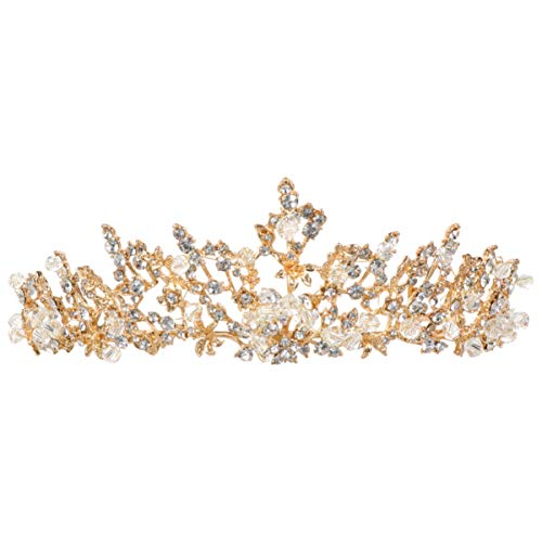 Lurrose Tiara de novia de boda con diamantes de imitación, corona de...