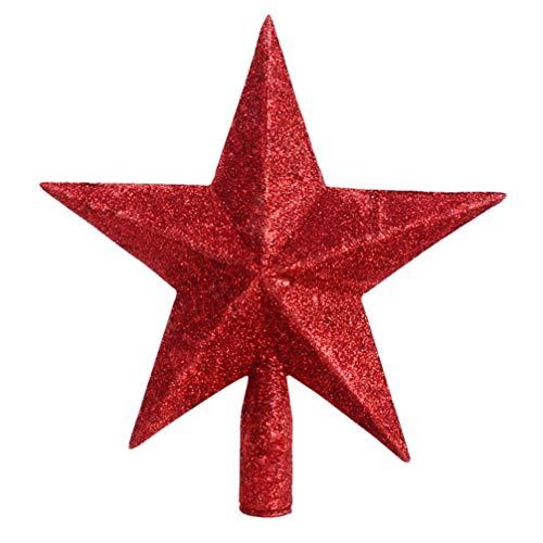 VALICLUD Stern Christbaumspitze Glitzer Rote Stern Weihnachtsbaumspitze Stern Baumspitze Stern Tannenbaum Topper Baumkrone Weihnachtsstern Deckel Weihnachtsdeko 20 cm
