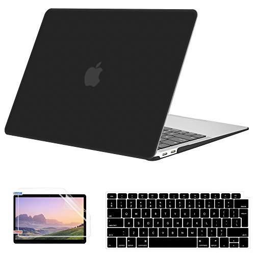 Custodia per MacBook Air 13 Pollici 2020 2019 2018 Versione A2337 M1 A2179 A1932, Guscio Duro Opaco con Protezione Schermo, Copertura Tastiera Compatibile con MacBook Air 13 con/Senza Touch Bar, Nero
