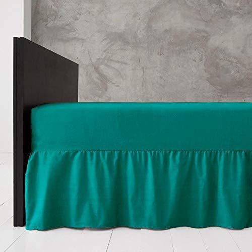 G&H Platform Valance Poly Katoen Frilled Plain Dyed Bed Sheets Diamond - MAAT : DOUBLE - KLEUR: TEAL