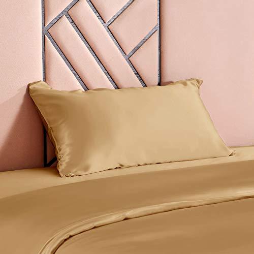 THXSILK - Fundas de almohada de seda, 100% 19 Momme de seda, funda de almohada suave para el cuidado de la piel y anticaída del cabello, antiácaros e hipoalergénicas, Or Métallique, 65 x 65 cm