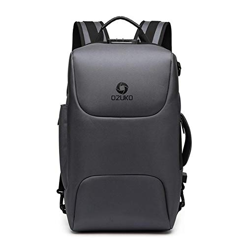 Laptop Bag Backpack High Capacity Men Anti Theft 15.6 Inch Laptop Backpack Male Usb Charging Waterproof Bag Business Casual Travel Big 15.6Inch(26X18X47Cm) Gray Free Fast Delivery