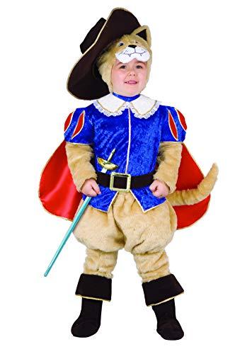 Ciao-Gatto con las botas disfraz niño (3-4 años), beige/azul/rojo, 55312.3-4