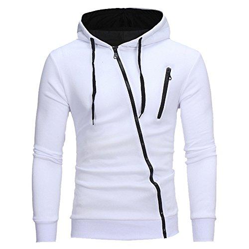 wenyujh Herren Kapuzenpullover Hoodie Pullover mit Schrägem Reißverschluss Herbst Jacke Sweatshirt in Kontrastfarben
