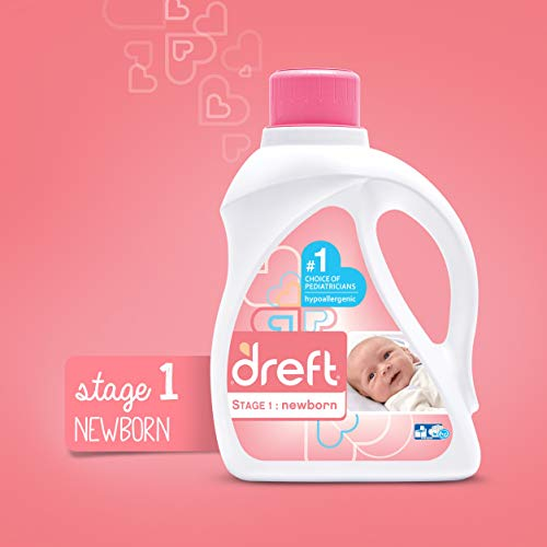Image of Dreft Stage 1: Newborn Hypoallergenic Liquid Baby Laundry Detergent (HE), Natural for Baby, Newborn, or Infant, 50 Ounce (32 Loads), 2 Count (Packaging May Vary)