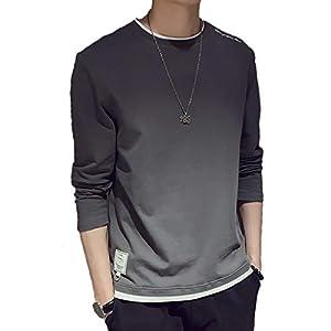 Aroniko Tシャツ メンズ カットソー メンズ ロンT 長袖 カジュアル 無地 ファッション 丸襟 快適 大きいサイズ グレー XL