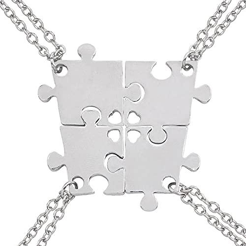 Collares Juego de 4 piezas de serie buenos amigos rompecabezas de amor collar geométrico hueco colgante de amistad selección de joyería-Plata