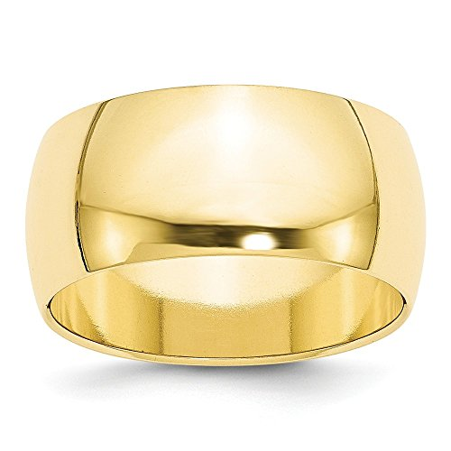 10k Yellow Gold 10mm Half Round Wedding Ring Band Size 9 Classic Fine Jewelry For Women Gifts For Her